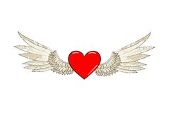 Vector wings and heart Royalty Free Stock Photos