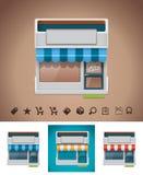 Vector winkelpictogram met verwante pictogrammen royalty-vrije illustratie