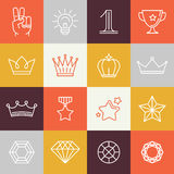 Vector winner awards and victory signs. Line icons - gamification and premium badges Royalty Free Stock Photography