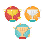 Vector winner badges set with trophy cups isolated on white back Stock Photo