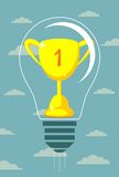 Vector winner cup on light bulb background Stock Photo
