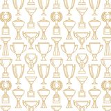 Vector winner cup. Seamless pattern. Sport background. vector design. Trophy line icons set Stock Images