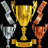 Vector Winning gold, silver, bronze cups, ribbbons Royalty Free Stock Photography