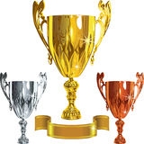 Vector Winning success gold, silver, bronze cup Stock Photography