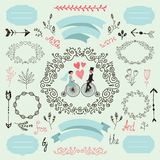 Vector wintage wedding set, romantic, love collection. Hand drawn design elements, frames, robbons, arrows. Illustration Stock Image