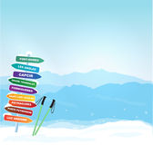 Vector Winter banner with Canigou silhouette Royalty Free Stock Photography