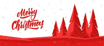 Vector winter banner with Hand lettering of Merry Christmas and graphic pine forest.  Royalty Free Stock Images