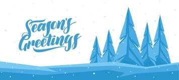 Vector winter banner with Hand lettering of Seasons Greetings and graphic pine forest.  Royalty Free Stock Photo