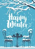 Winter street cafe under tree with inscription. Vector winter banner with inscription Happy winter, snow-covered tree and open-air cafe with hot tea on the table Stock Images