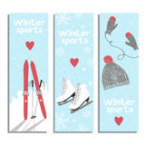 Vector winter banners. Vector banners with for winter sports lovers Stock Photos
