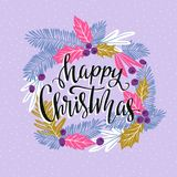 Vector winter card with christmas wreath and lettering - `Happy Christmas`. Stylish holiday background Stock Images