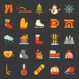 Vector winter cartoon icons stock illustration