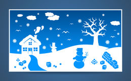 Vector winter cartoon landscape. With many winter and christmas elements Royalty Free Stock Photos