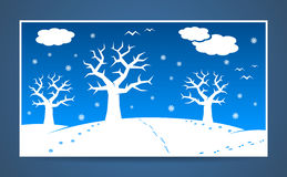 Vector winter cartoon landscape Royalty Free Stock Images