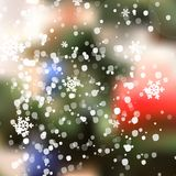 Vector Winter Christmas Blurred Glow Snowflakes. Stock Photo