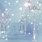 Vector winter Christmas Cityscape, avenue with vin Royalty Free Stock Photos