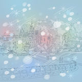 Vector winter Christmas cityscape with church and  Royalty Free Stock Photography
