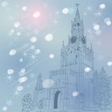 Vector winter Christmas cityscape of the Moscow Kr Royalty Free Stock Images