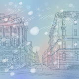 Vector winter Christmas Cityscape, the wide avenue Royalty Free Stock Photography