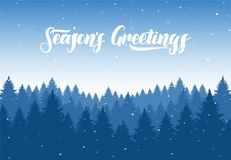 Free Vector Winter Christmas Forest Background With Snowflakes And Hand Letterin Of Season`s Greetings. Royalty Free Stock Photos - 118935798