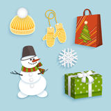 Vector winter christmas symbols flat set. Snowman in bucket, triped scarf present box with ribbon bow, knitted cap, mittens snowflake shopping paper bag Stock Photography