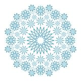 Vector winter colored circular mandala with blue snowflakes. Adult coloring book page Stock Images