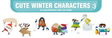 Vector winter comical characters. Royalty Free Stock Photos