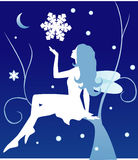 Vector winter fairy. Sitting on a tree Royalty Free Stock Photo