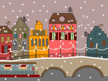 Vector winter fairy town. With houses, bridge, and snow Royalty Free Stock Photos