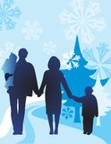 Vector winter family of four Stock Photo