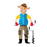 Vector Winter fishing. Flat style colorful Cartoon illustration. Royalty Free Stock Photos