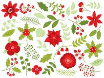 Vector Floral Christmas Set with Flowers, Berries and Leaves. Vector winter floral set with red flowers, poinsettia, red berries, holly and leaves. Christmas and vector illustration