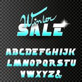 Vector winter font, alphabet. Winter sale, special offer with glint of star on transparent background. Illustration Royalty Free Stock Images