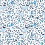 Vector Winter Forest Pattern. Fresh Christmas texture in blue shades on white background for fabric and wallpaper design Stock Images