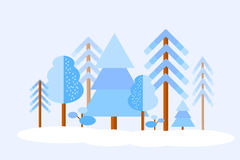 Vector winter forest Royalty Free Stock Image
