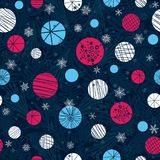 Vector winter holiday dark blue, pink, white abstract. Ornaments and stars seamless repeat pattern background. Great for holiday fabric, packaging, wallpaper Royalty Free Stock Image