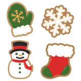 Vector Winter Holiday Decorated Cookies Christmas Illustrations stock photos