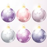 Vector winter holiday illustration of christmas balls. Royalty Free Stock Images