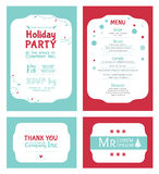 Vector Winter Holiday Party Invitation Set. Light Royalty Free Stock Images