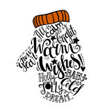 Vector Winter holidays illustration. Christmas silhouette of mitten with greeting lettering. stock illustration