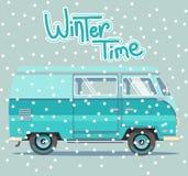 Vector winter illustration car. Background retro travel van Stock Image