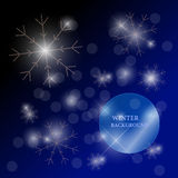 Vector winter illustration with snowflakes made with rhinestones Stock Photos