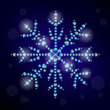 Vector winter illustration with snowflakes made with rhinestones Royalty Free Stock Photography