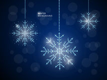 Vector winter illustration with snowflakes made with rhinestones isolated on dark background with text space. Royalty Free Stock Images