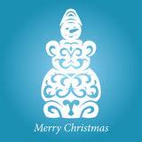 Vector lace handmade snowman Royalty Free Stock Photos