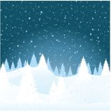 Vector winter landscape. Snow covered fur trees in snow snowdrifts Royalty Free Stock Image