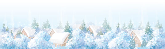 Vector winter landscape. Vector winter blue city scape scene Stock Photography