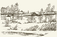 Vector winter landscape. Decrepit hut in Russian hamlet windy cold overcast wintertime day. Vector monochrome freehand linear ink drawn backdrop sketchy in art Royalty Free Stock Image