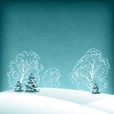 Vector winter landscape with fir trees Stock Photos