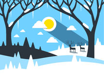 Vector Winter Landscape Stock Image